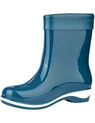 LvRao Mujeres Botas de Lluvia Nieve a Prueba de Agua   Botines Liso Zapatos de Goma Tacón Alto