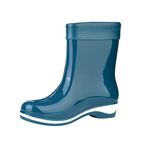 LvRao Frauen Lederstiefel Wasserdichte Gummistiefel Boots Regen Schnee Stiefeletten Schuhe Stiefel Damenstiefel Blau