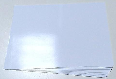 10Feuilles de Papier Blanc Glacé Autocollant pour Photos / Étiquettes de Format A4 Résistant aux Intempéries