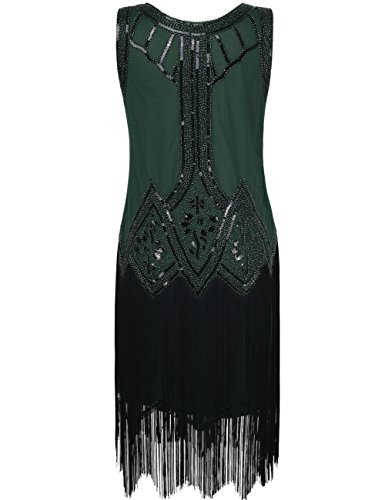 Kayamiya Damen Retro Inspiriert 1920er Paillette Perlen Art Deco Franse Flapper Kleid M Grün - 2