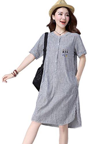 Bigood Femme Rétro Robe Chemise Motif Imprimée Avec Poche Bleu