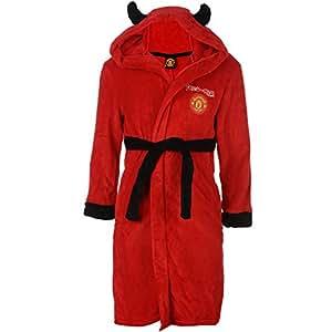 Officiel Manchester United Red Devil Mascot Sweat à capuche en peluche Peignoir de bain pour enfants de 4–5 ans