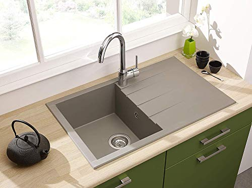 respekta Spüle Küchenspüle Einbauspüle Granit Spülbecken Mineralite 80 x 50 grau