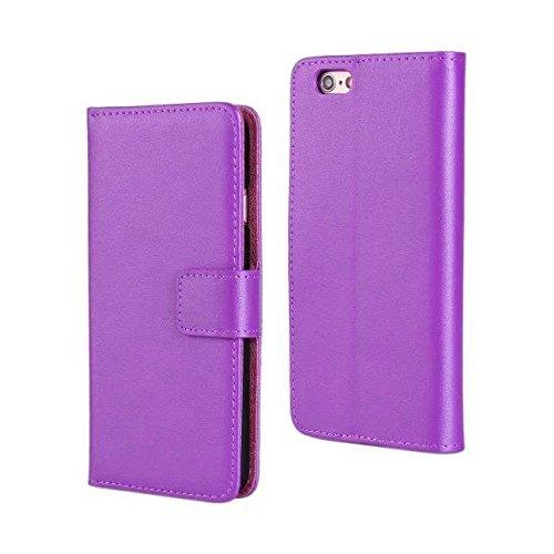 """smartec24® iPhone 6 PLUS (5.5"""") Flipcase im Brieftaschenformat inkl. 1x Displayschutzfolie mit Karten- und Bargeldfächern (schwarz) lila"""