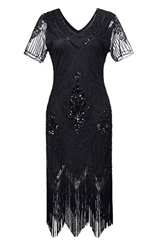 MATTE Gatsby 1920er Flapper Dress Women Vintage Sequin Fringe Beaded Art Deco Fancy Dress for Party Prom,XL
