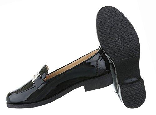 Damen Schuhe Halbschuhe Blockabsatz Slipper Schwarz Schwarz