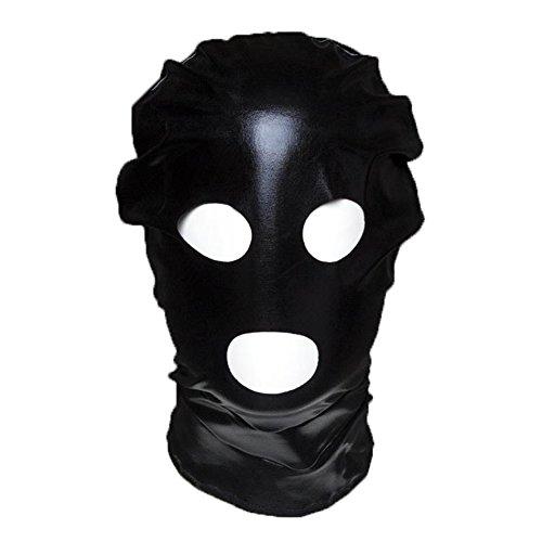 Raycity Schwarzes Leder Kostüm Gimp Maske Hood Style 7 (Gimps Kostüm)