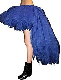 Neón UV falda tutú de pavo real de tejer de largo 7capas