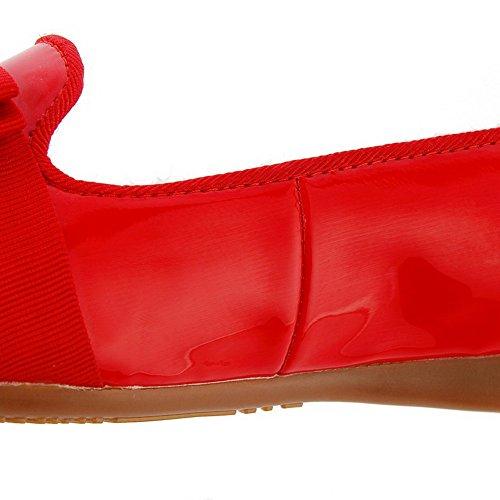 Absatz Schuhe Voguezone009 Ziehen Damen Auf Rot Pumps Rein Zehe Lackleder Rund Niedriger 0q40Fwgx