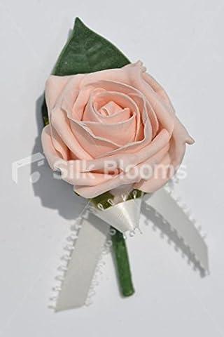 Élégant artificielles en mousse Rose Mariage Boutonnière Rose w/picot-edged Ruban