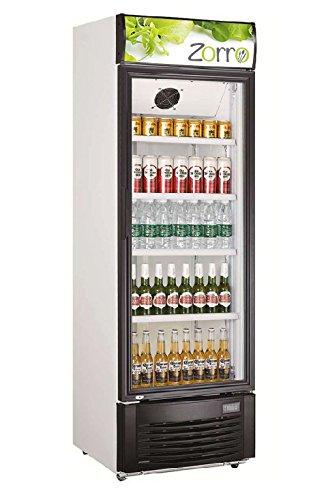 ZORRO Kühlschrank mit Glastür 350 L Getränkekühlschrank Umluft Flaschenkühlschrank