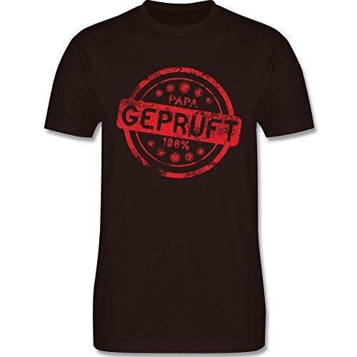 Eltern - Papa geprüft - L190 Herren Premium Rundhals T-Shirt Braun