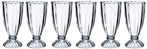 Vintage Gourmet® Lot de 6 verres à milk shake Crème glacée de style américain 340 ml rétro Soda Fontaine Flissy Glory Desert Tall coupes à glace
