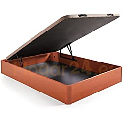 Hogar24.es. Canapé abatible madera gran capacidad con tapa 3D y válvulas de transpiración, incorpora 4 patas en madera maciza, color cerezo 150X190