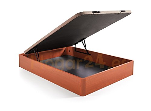 Hogar24.es. Canapé abatible madera gran capacidad con tapa 3D y válvulas de transpiración, incorpora 4 patas en madera maciza, color cerezo 150X200
