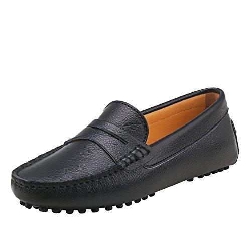 Shenduo Damen Driving Mokassin Leder Schuhe Casual Slipper Freizeit Sommer Schuhe D7052 Schwarz 40