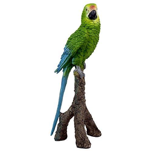 Papagei Deko Figur Garten Statue Ara Vogel Grün (Papagei Grün)