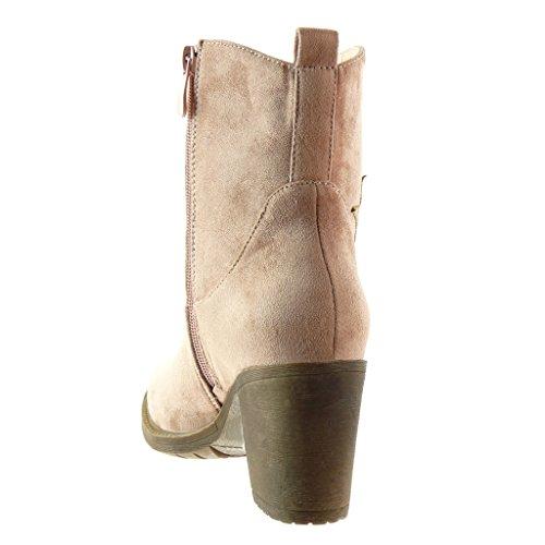 Angkorly - Chaussure Mode Bottine santiags - cowboy femme etoile Talon haut bloc 7.5 CM - Intérieur Fourrée Rose