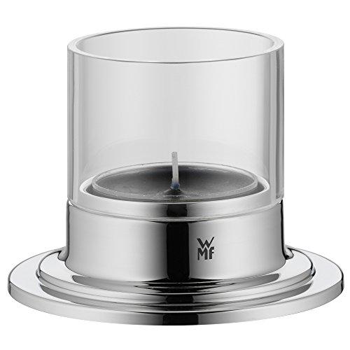 WMF Michalsky Tableware Windlicht, mit schwarzem Teelicht, Ø 8,5 cm, Cromargan Edelstahl, Glas, für Maxi-Teelichter spülmaschinengeeignet