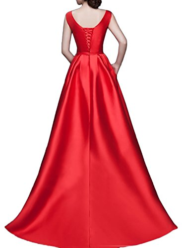 Gorgeous Bride Modisch Rundkragen Hi-Lo Satin Lang Schleppe Abendkleider Lang Cocktailkleider Ballkleider Lila
