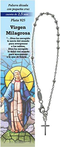 Pulsera Rosario de plata 925 con cuentas de 2,5 mm y cruz - Virgen Milagrosa - español