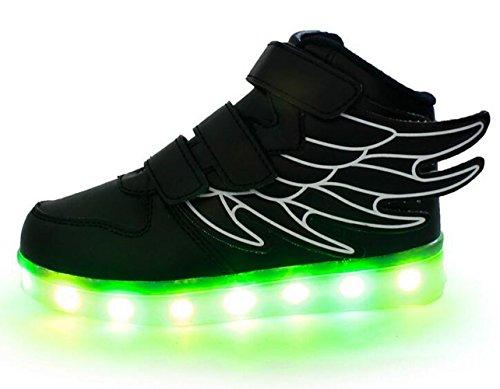 Firstmall-LED Chaussures High Top 7 Couleur Unisexe garçons et filles enfants USB Charge LED Ailes légères Chaussures de Sports Baskets Noir