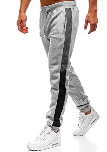 Herren Hosen Hose Sporthose Trainingshose Cargo Pants Jogginghose Sweatpants Jogger Mode Freizeit Laufen Streifen Enger Beinabschluss(Hellgrau,M)