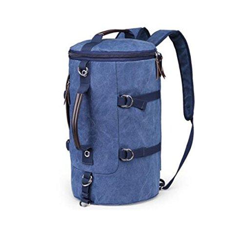 Uomini Tela Viaggi Zaino Spalla Borsa Per Campeggio Alpinismo,Brown-OneSize Blue