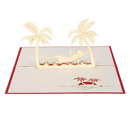 urlaub klappkarte 3d pop up karte h ngematte zwischen palmen reise gutschein. Black Bedroom Furniture Sets. Home Design Ideas