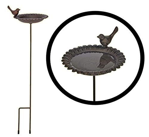 Bambelaa! Vogeltränke Gusseisen Garten Vogelbecken Vogel Wasser Vogelbad Futter Schale Wasserstelle Tränke stehend 1 Stück zum Stecken