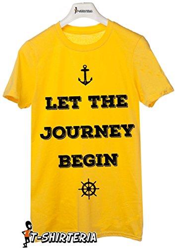"""t-shirt frasi simpatiche """"Let the journey begin"""", lasciare che il viaggio abbia inizio - tutte le taglie uomo donna maglietta by tshirteria giallo"""
