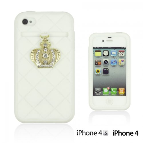 OnlineBestDigital - Crown Style Soft Silicone Case / Housse pour Apple iPhone 4S / Apple iPhone 4 - Jaune Blanc