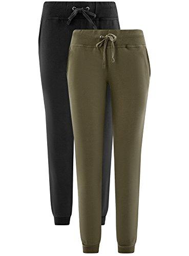 oodji Ultra Donna Pantaloni in Maglia (Pacco di 2) Multicolore (19NAN)