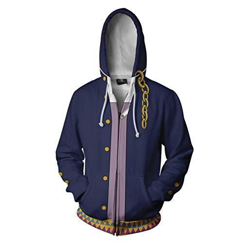 Kujo Cosplay Jotaro Kostüm - Wellgift JoJo Bizarre Adventure Hoodie Cosplay Kostüm Erwachsene Herren Jugendliche Langarm 3D Sweatshirt Jacke Halloween Fancy Dress Kleidung