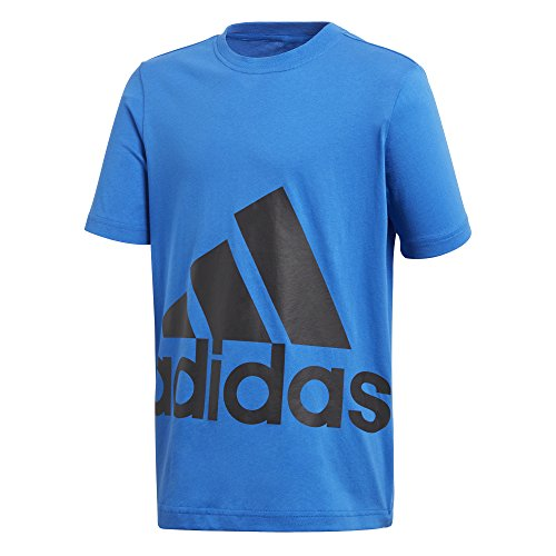 adidas Jungen Big Logo Kurzarm T-Shirt, Blue/Black, 128 -