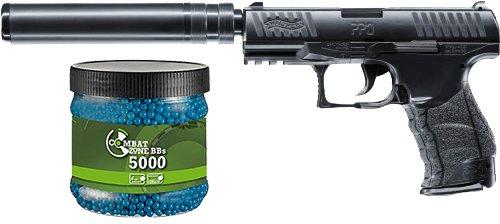 SET: Walther PPQ Navy Kit Federdruck Softair Pistole 6 mm BB 0,5 J + Umarex Combat Zone Softairkugeln blau 6mm 0,12g 5000 BBs -