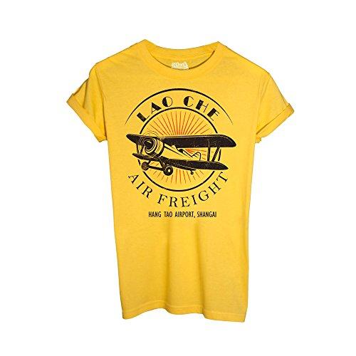 MUSH T-Shirt Lao Che Air Freight- Indiana Jones - Film by Dress Your Style - Herren-M-Gelb (Jones Indiana Shirt)