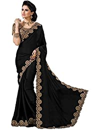 Krishna Emporia Women's Chiffon Embroidered Saree With Blouse Piece - Heavy Work Sarees Collection 80_Black_Free...