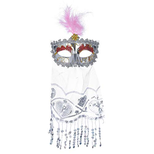 rilliant Masquerade Mask Damen Oriental Fluffy Feather Venezianische Geheimnisvolle Schmetterlings Glänzende Halloween Karneval Party(D) ()