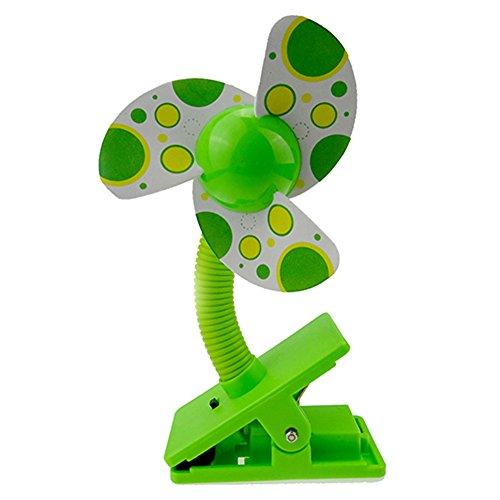 Steellwingsf Sicher Weiche Klingen Tragbar Flexibler Clip auf Mini-Fan für Kinderwagen Buggy Babyschale, Plastik, Grün, Einheitsgröße (Autositz Für Jogging-kinderwagen)