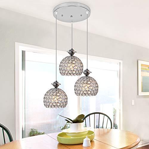 Froadp Kristall Hängelampe Metall Lampenschirm Lüster Pendelleuchte Weiß E27 Sockel Modern Design Deckenlampe mit Keine Glühbirne enthalten für Wohnzimmer Schlafzimmer(Hemisphärisch)