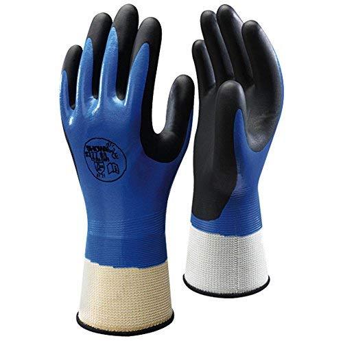 SHOWA 377M 13 Gauge Gants multi-usages en nylon avec revêtement nitrile et mousse de nitrile sur la paume de la main, M Bleu