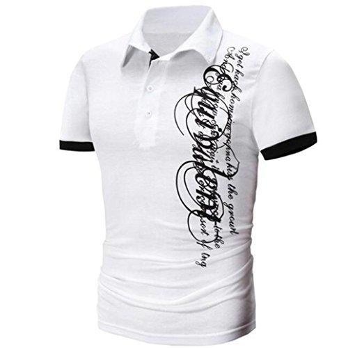 ASHOP Abbigliamento Uomo, Shirt Uomo Maniche Lunghe, T-Shirt da Uomo Stampata Lettere Casual da Uomo Bianco