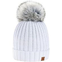 4sold Rita Damen Wurm Winter Style Beanie Strickmütze Mütze mit Fellbommel Bommelmütze HAT SKI Snowboard