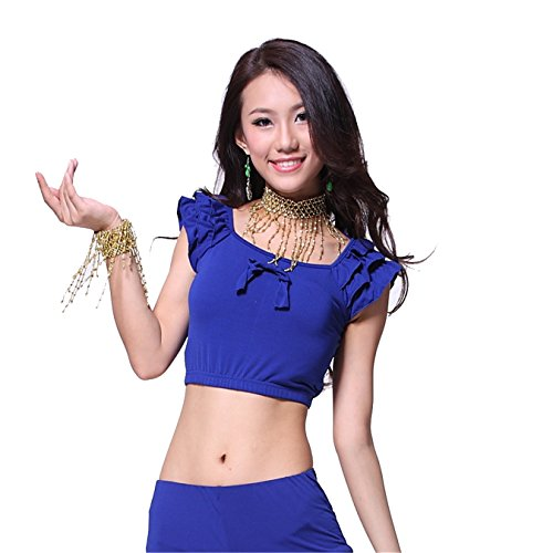 Danza Outfits Dancewear Danza del ventre Costume Set manica corta Bow Tops+Crystal Cotton pantaloni dark pink Dark Blue