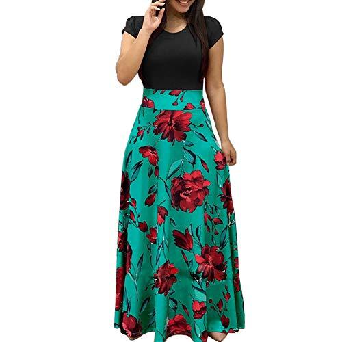 EFINNY Damen Retro Blumen Gedruckt Maxikleider Kappenhülse Abend Party Langes Kleid