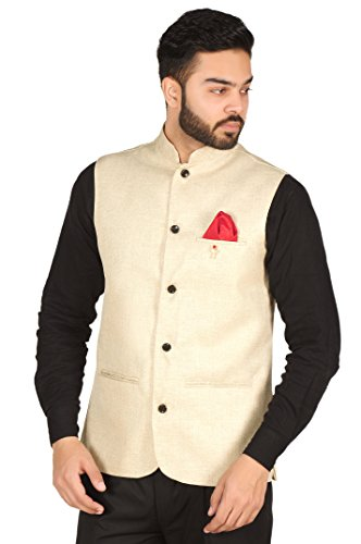OORA Men's Cotton Blend Nehru Ethnic Jacket (Nj-Lightgolden--Xxl_Light Golden_44)