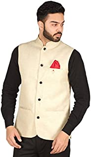 OORA Men's Cotton Blend Woven Nehru and Modi Ja
