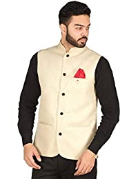OORA HARTMANN Men's Woven Cotton Blend Nehru and Modi Jacket Ethnic Style For Party Wear -10 Colors Available