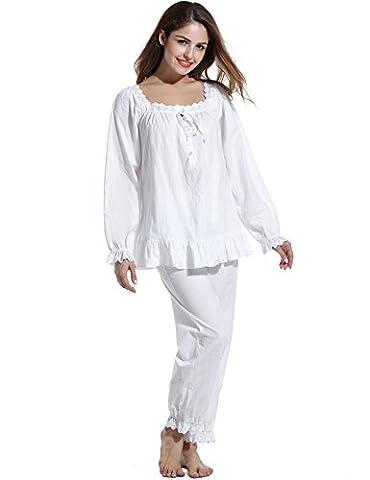 Avidlove Damen Vintage Nachtwäsche Schlafanzüge Pyjamas Set Baumwollmischung Britisch Langarm-Fest (L, Weiß)